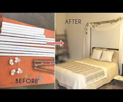 DIY Faux Wood PVC Pipes Bed Canopy