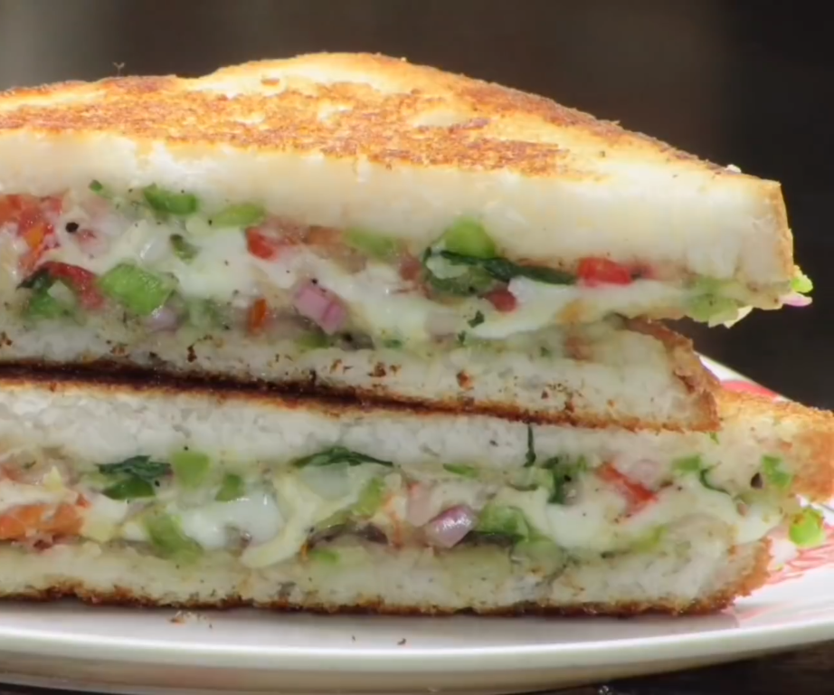 Cheese Vegetable Sandwich Recipe - Indian Style