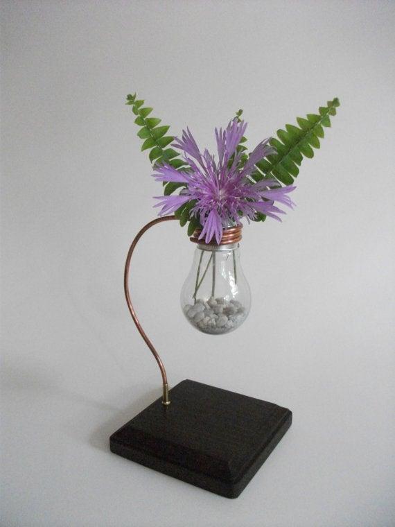 Elegant Lightbulb Flower Vase W/ Copper & Wooden Base - Repurposed & Reused