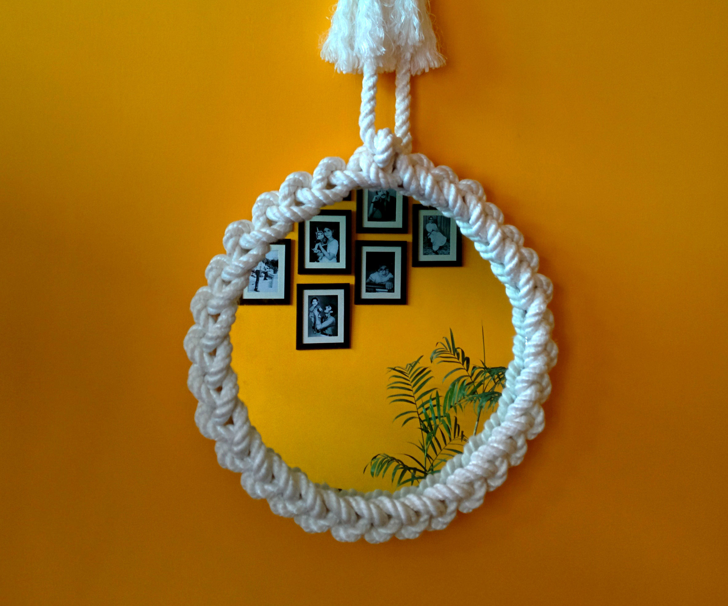 How to make a designer mirror frame using rope
