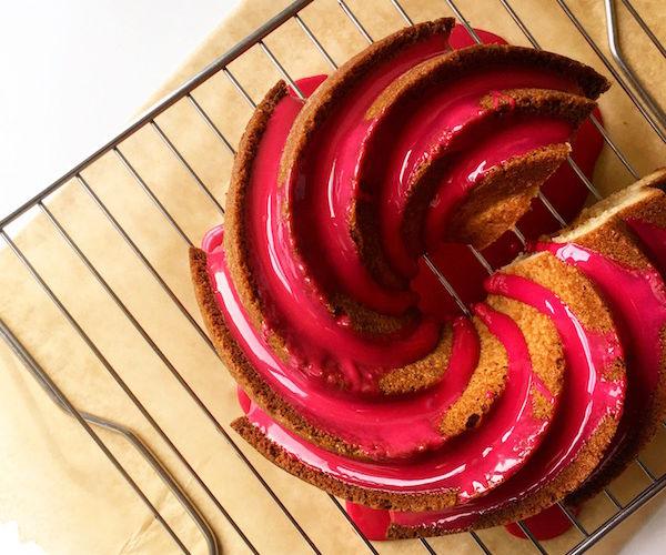Almond Cake With Hibiscus Glaze