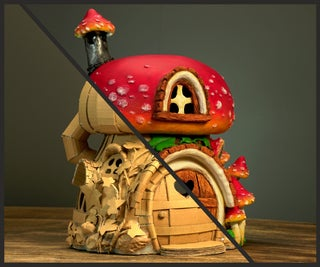 使用纸板的蘑菇房子