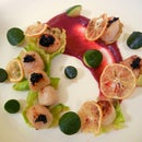 Seared Scallops with Beet Purée