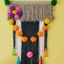 Yarn Wall Hanging With Pom Pom and Tassel