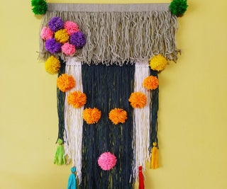 Yarn Wall Hanging With Pom Pom and Tassel