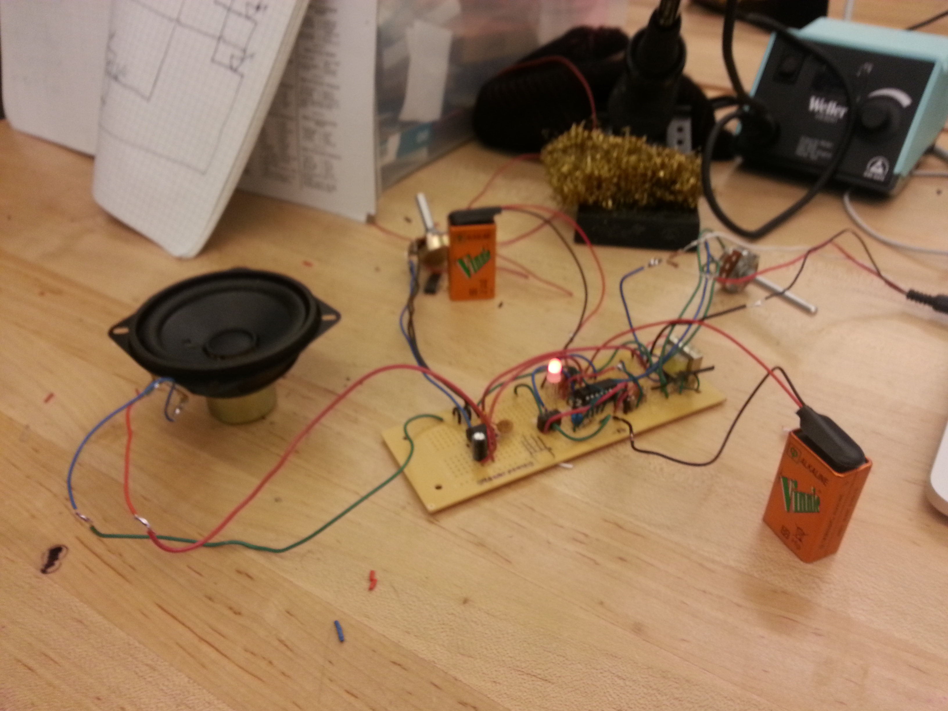 Build a circuit that can change the color of an LED with the sound being put out of an MP3 player.