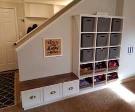 Toy Organization Cabinet With a Walnut Bench and Dovetail Drawers