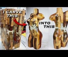 用环氧树脂和木材雕刻躯干