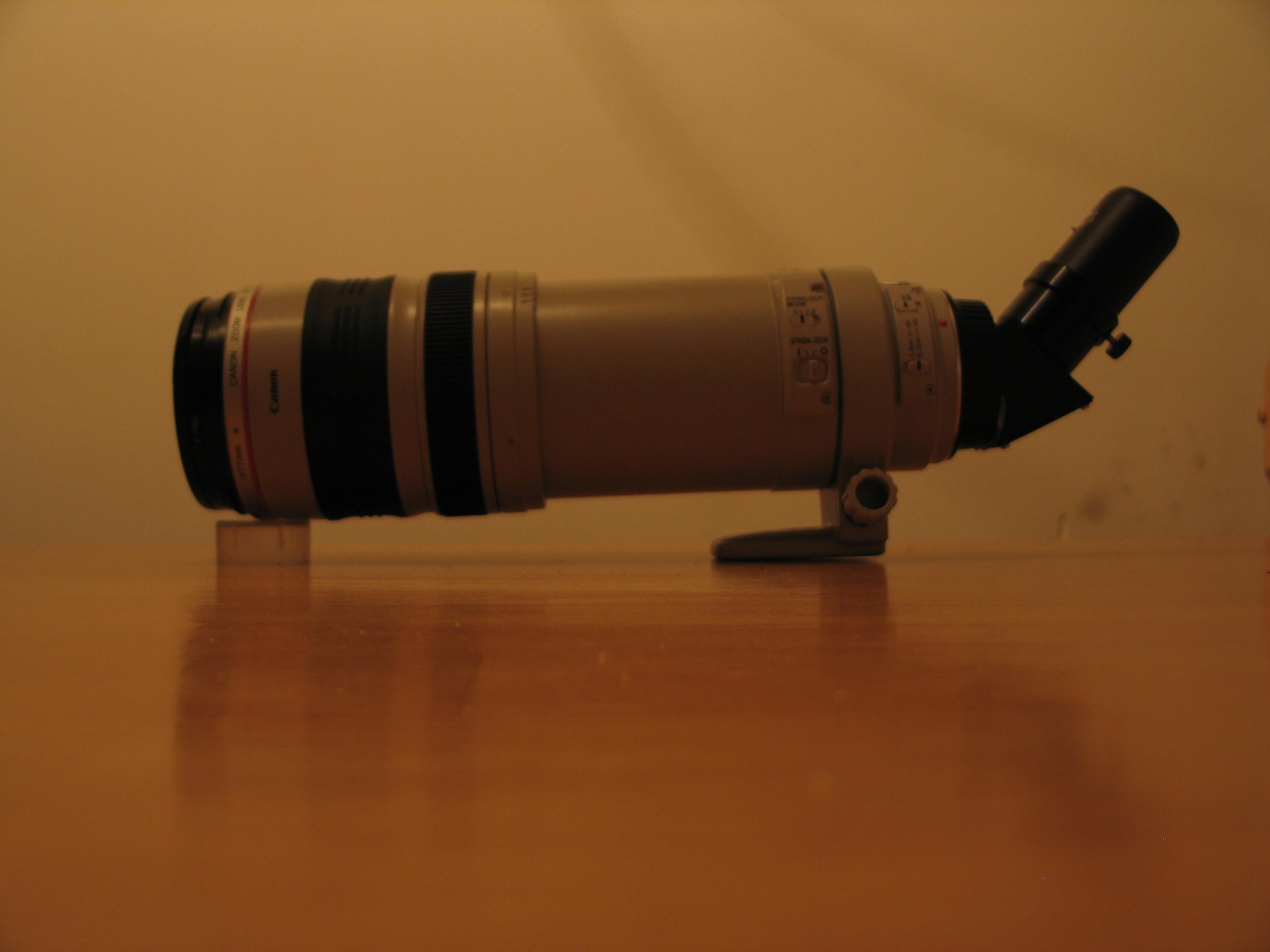 Turn a telephoto lens into a spotting scope or telescope