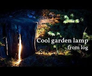 来自回收的破裂的木头日志的凉快的庭院灯