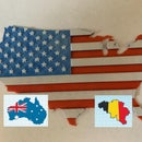 3D Country Map Flag