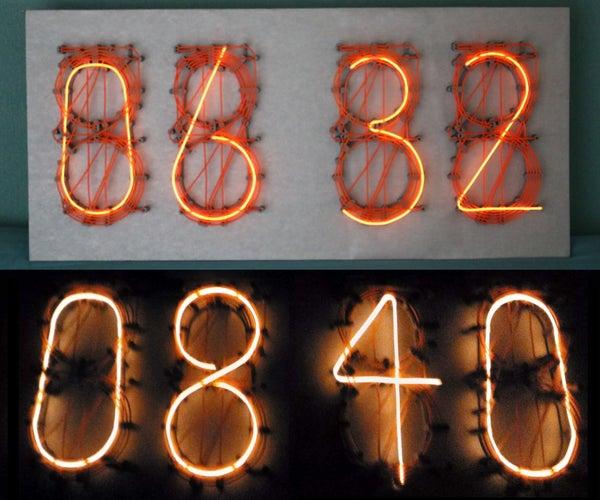 EL Wire Neon Nixie Style Clock