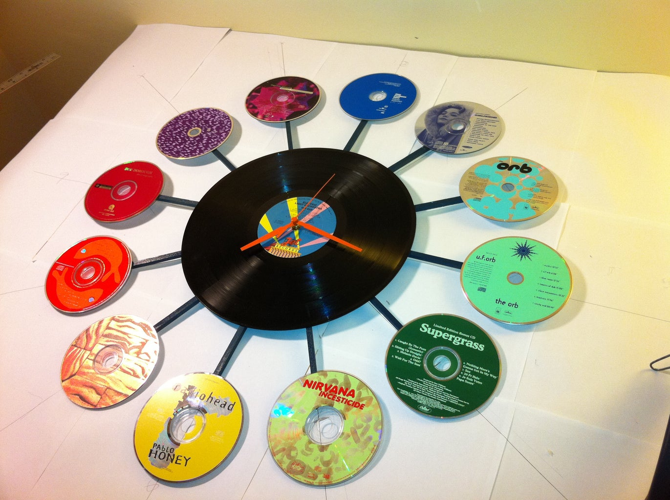 Step 6: Gluing the CDs in Place.