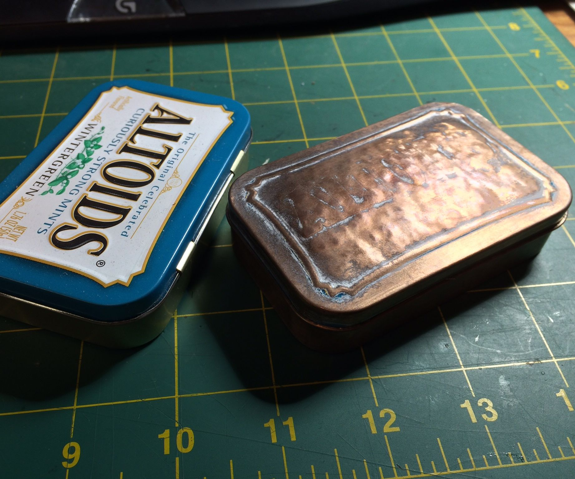 Copper plated, Domed Altoids Box