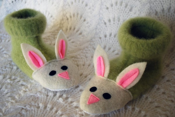 Fuzzy Bunny Slippers From Recycled Sweaters and Felt Details