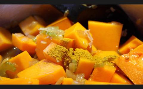 Add the Pumpkin, Seasoning and Stock