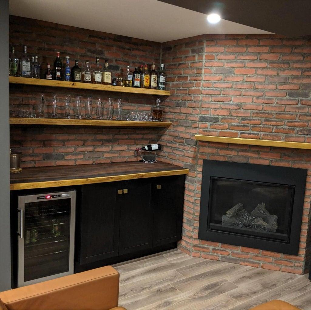 Live Edge Bar and Floating Shelves