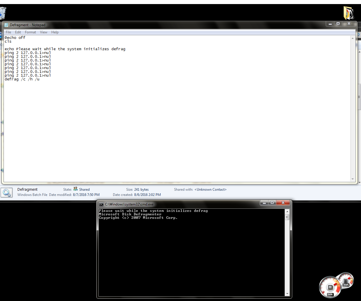 How to make a Command Prompt Defragmenter in Windows!! (works for all versions of Windows)