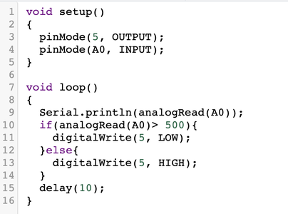 Step 3: Use the Following Code in Order to Program the Circuit to Function Based on the Resistance of the LDR