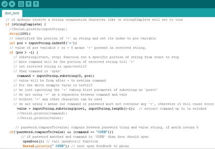 Arduino Program for Bluetooth Control Password Protected Door Lock