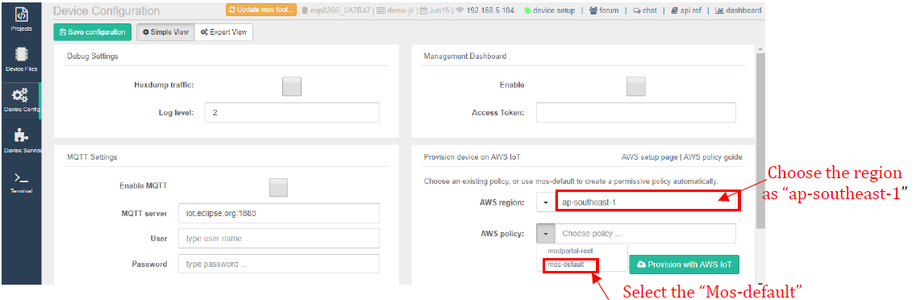 Provision Device on AWS IOT