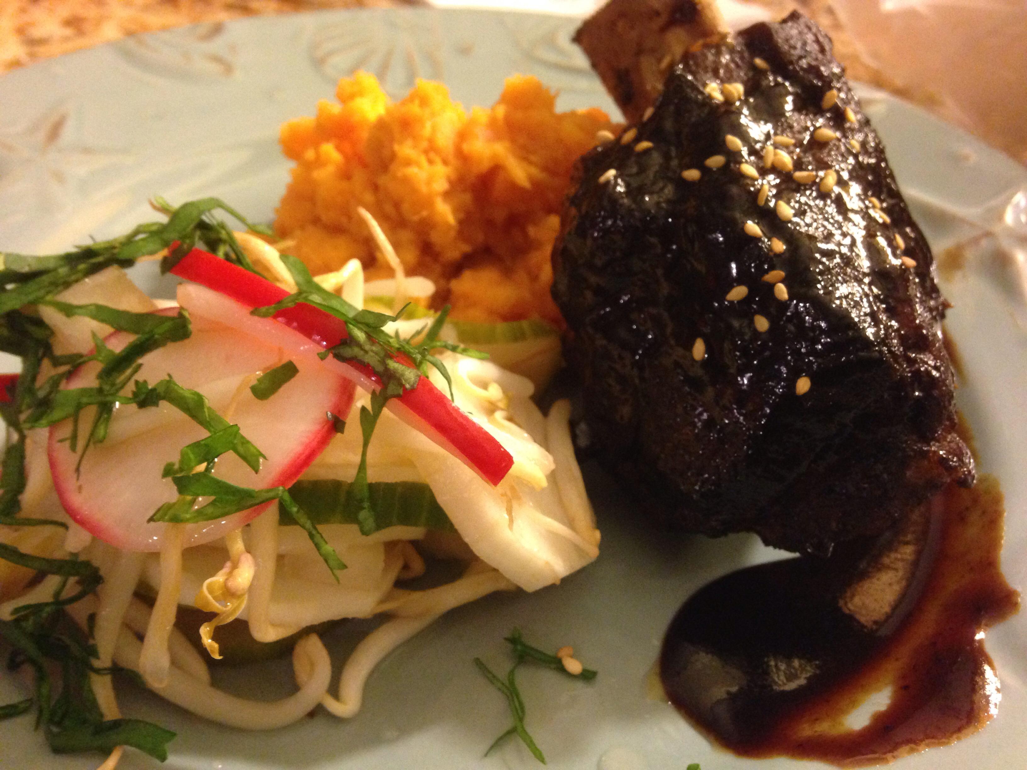 Hoisin Glazed Short Ribs with Asian Pickled Veg