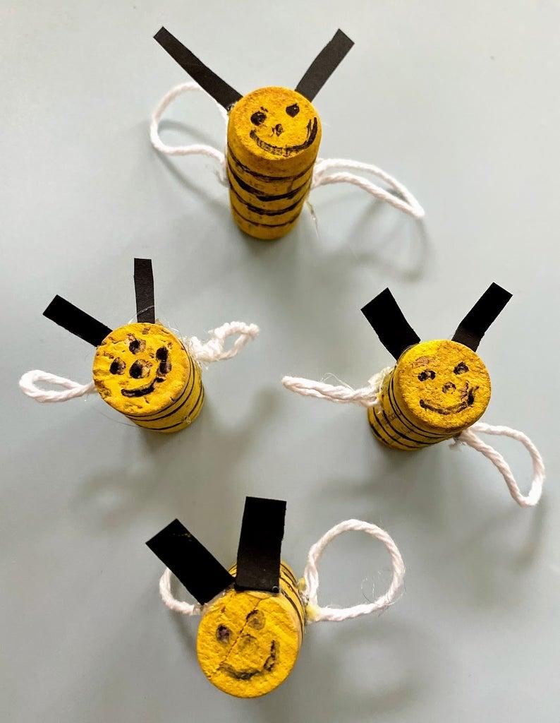 DIY Cork Honeybees