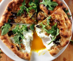(Almost) Wood-Fired Pizza With Chanterelles, Egg and Arugula