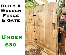 Wooden Gate and Fence With Concrete Post
