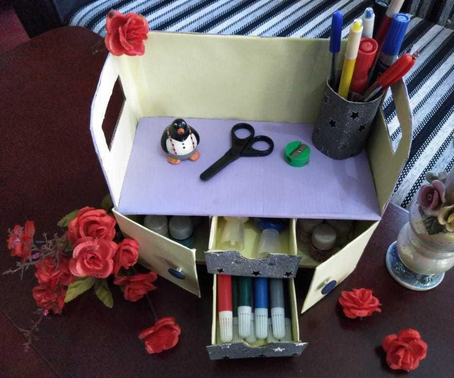 How to Make Cardboard Desk Organizer