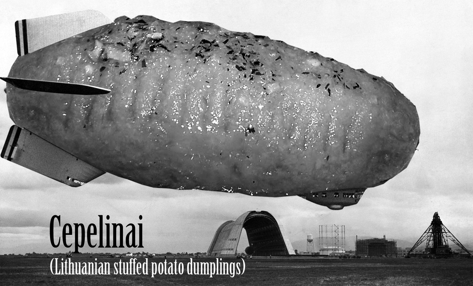 Cepelinai (Lithuanian stuffed potato dumplings)