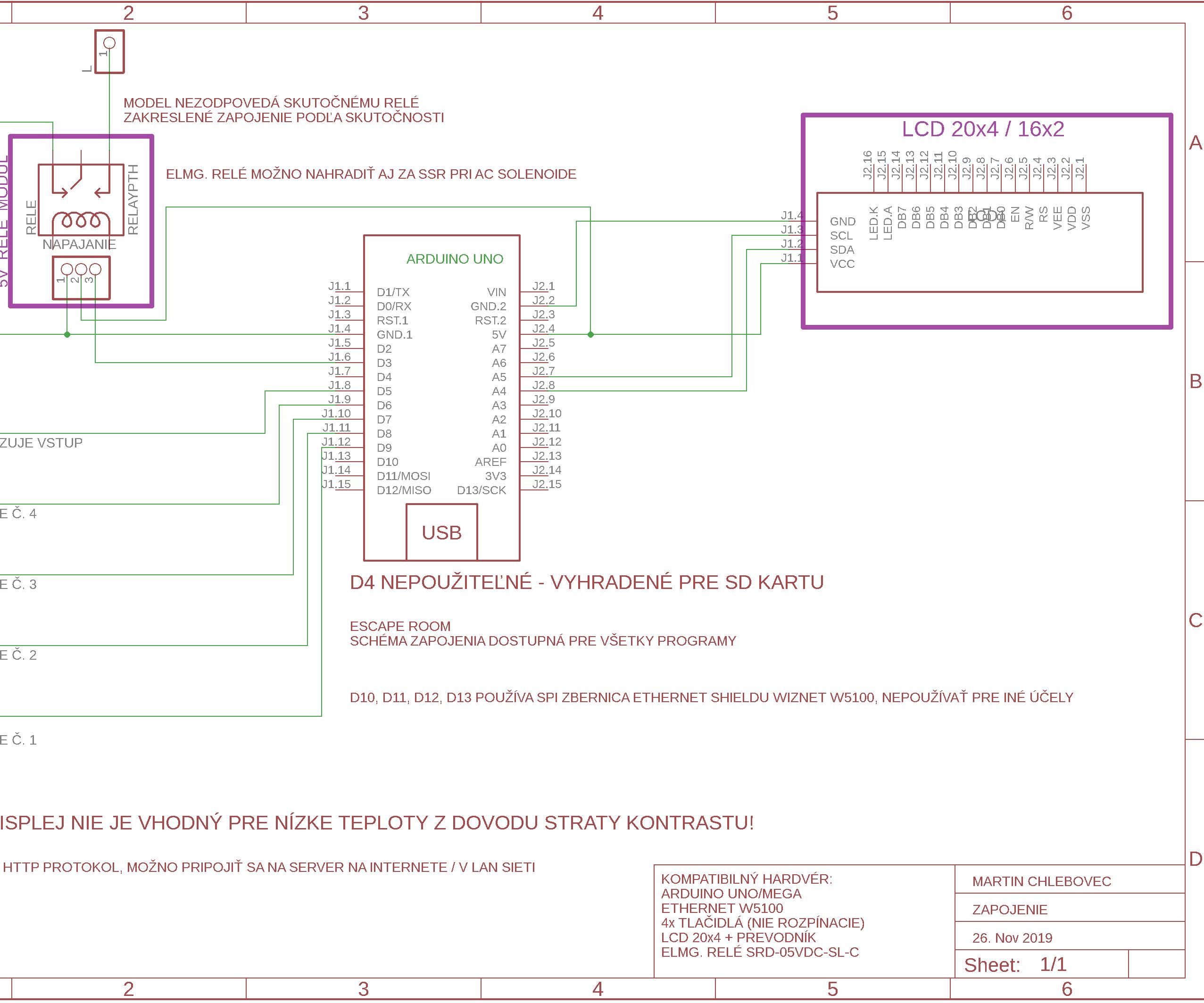 Escape Room - Webclient - Arduino + Ethernet + Schematics