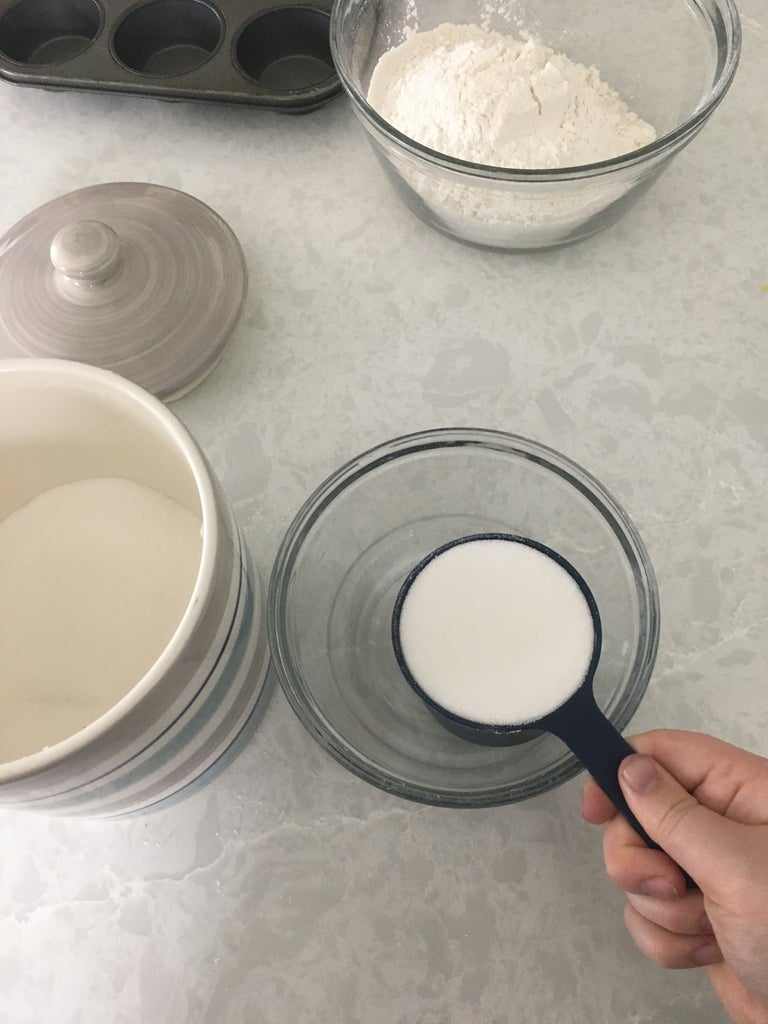 Measure 3 1/2 Cups of Flour and in a Seperate Bowl 2 Cups Sugar.