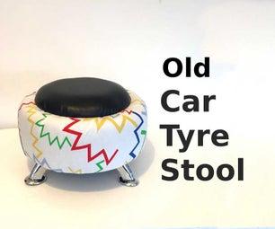 老汽车轮胎凳子