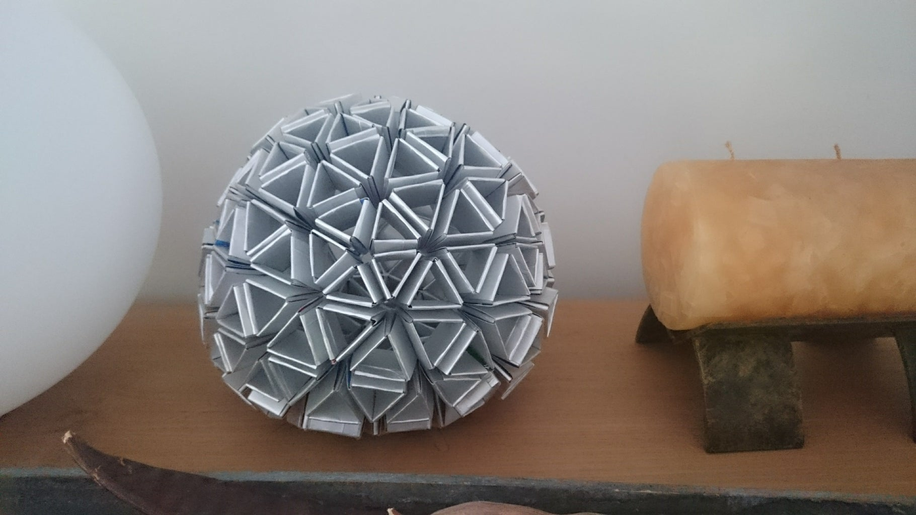 Silver Sphere (from Milk Cartons)
