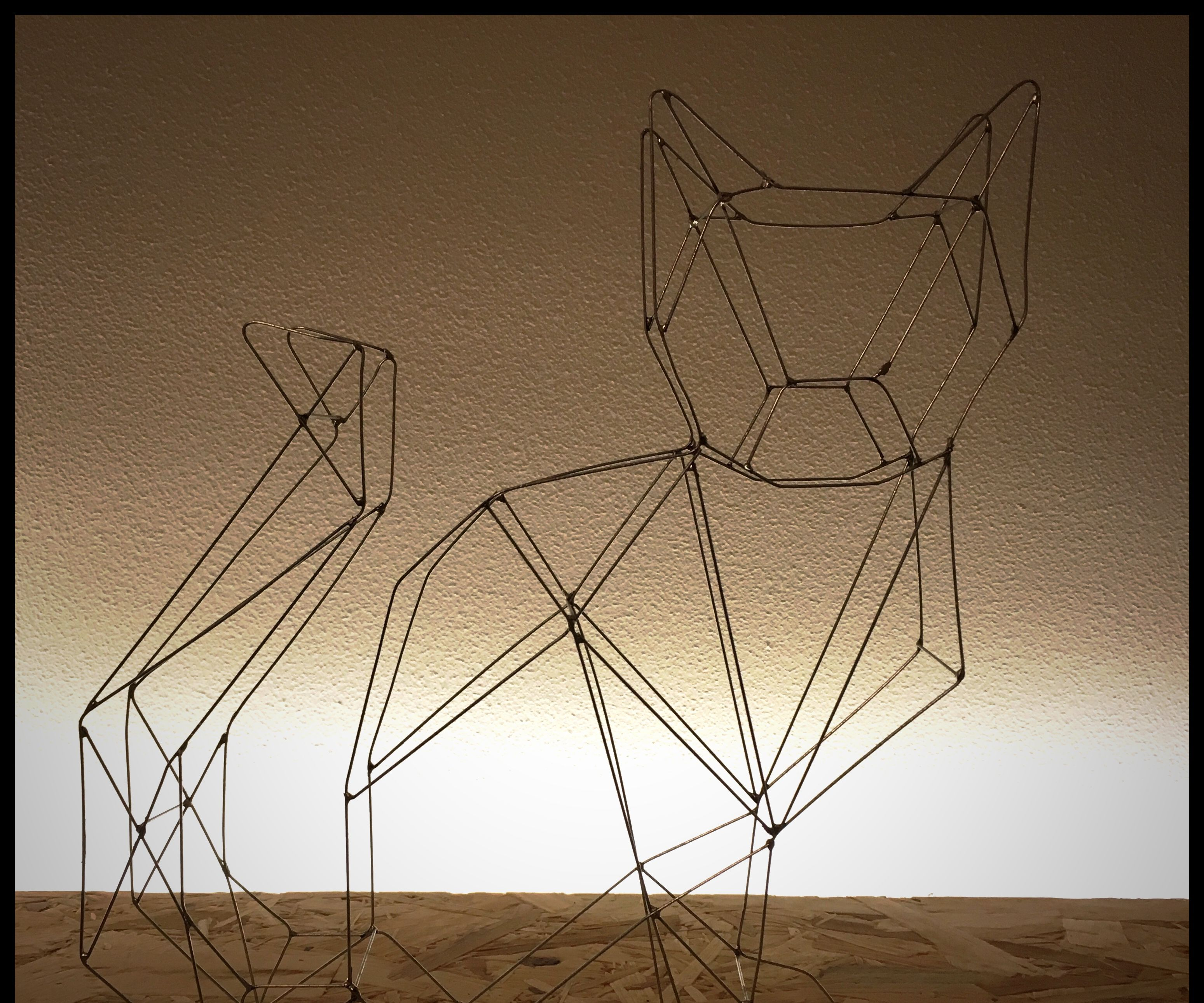 Wire art cat or wire frame cat
