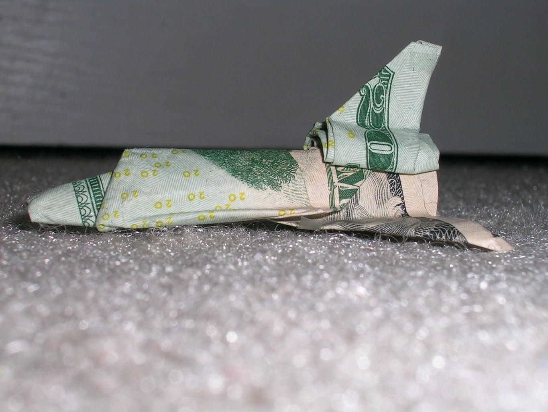 Origami Dollar Bill Space Shuttle
