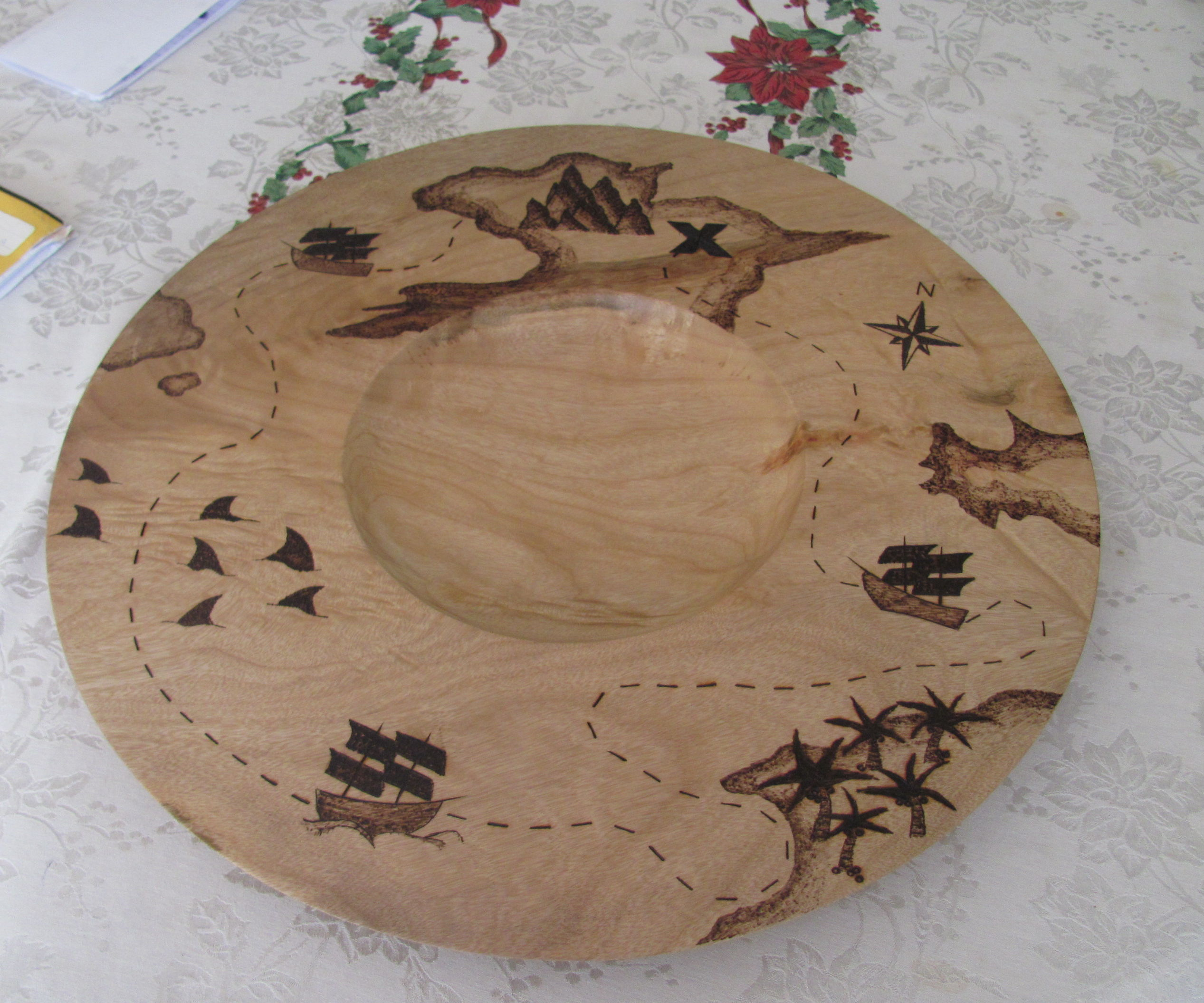 Pirate Map Platter (large dia turning and basic pyrography)