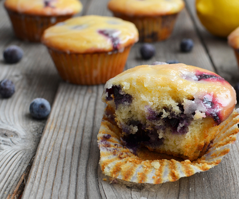 Lemon-Glazed Blueberry Yogurt Muffins