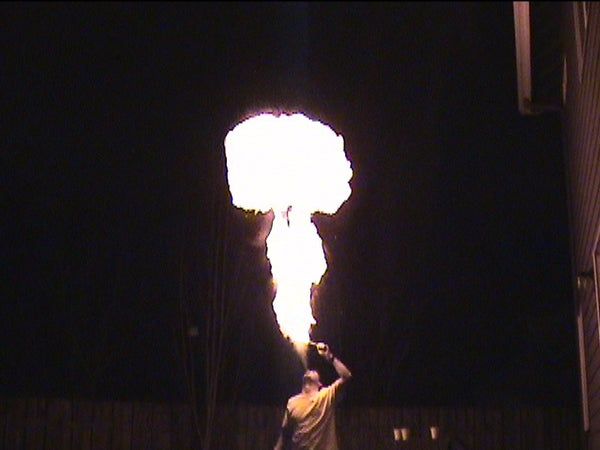 Non-Toxic Fire Breathing With Food for Fuel - 10 Foot High Fireballs