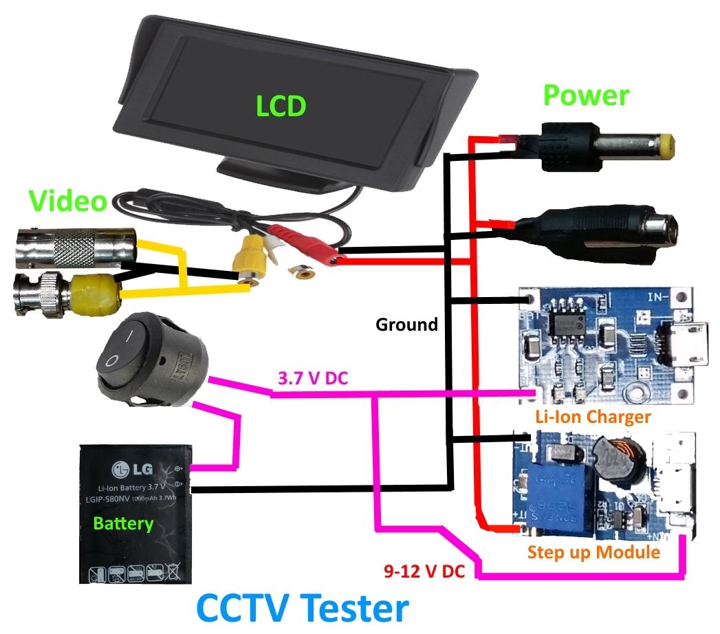 DIY CCTV Tester ( Rechargable Li-Ion)