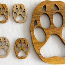 Wooden Wolf Paw Pendant, Keychain or Wall Decoration