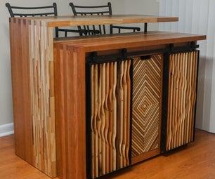 从回收木材的厨房岛内阁
