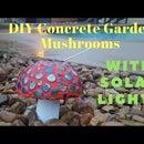 Hongos de jardín de hormigón de bricolaje con luces solares