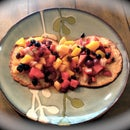 No Flour Cinnamon Blueberry Oatmeal Pancakes with Fruit & Raisin Topping