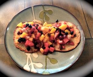 No Flour Cinnamon Blueberry Oatmeal Pancakes With Fruit & Raisin Topping