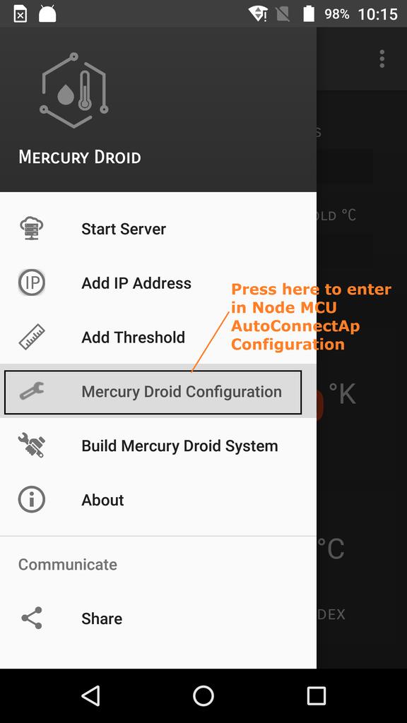NodeMCU or Mercury Droid System Web Server Network Settings