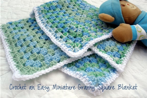 Easy Crocheted Miniature Granny Square Baby Blanket