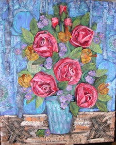 Cardboard Coffee Cup Collage Art Bouquet-Painted
