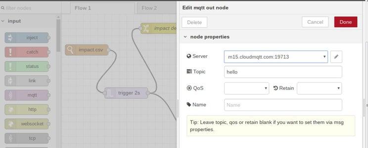 MQTT : Editing Properties in Node-red